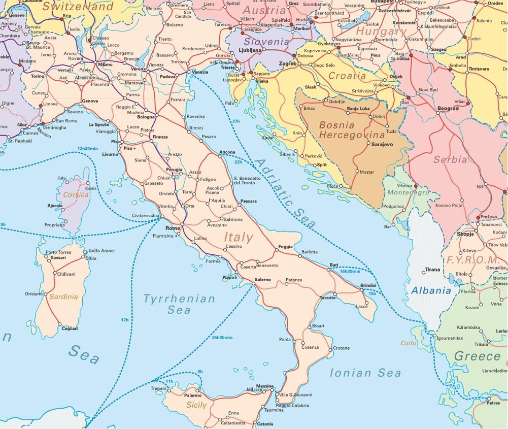 Streckennetz Italien - Dank an www.interrail.eu