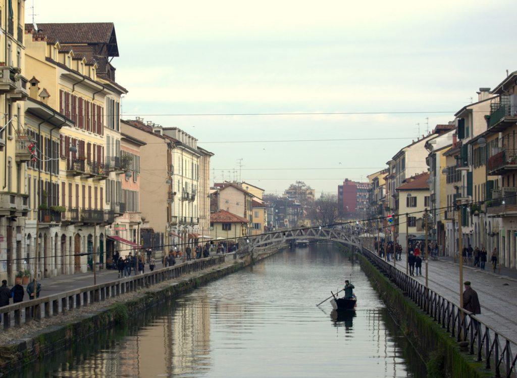 Mailand Naviglio Grande mit Boot